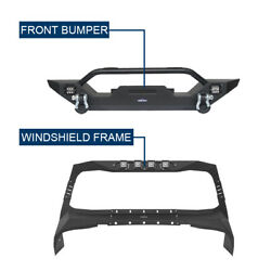 Windshield Frame Cover Armor And Front Winch Bumper For Jeep Wrangler Tj 1997-2006
