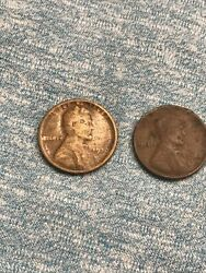 2 1922-d Lincoln Cent Wheat Pennies, Better Date. Old Us Coins, Book Filler