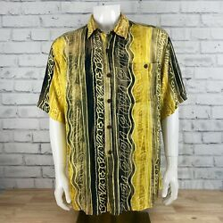 Vintage The Territory Ahead Menand039s Abstract Short Sleeve Button Down Shirt Xl