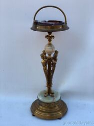 Antique Art Deco Figural Lady Cigar Ashtray Stand 32 Bronze And Onyx Smoke Stand