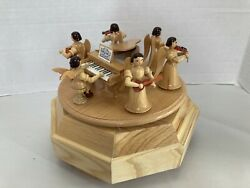 Vintage Wood Music Box With Angel Playing Instruments Violin At Grand Piano