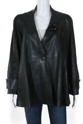 Womens One Button Collared Camellia Flower Pin Leather Jacket Gray Fr 44