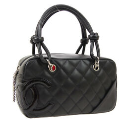 Quilted Cambon Cc Mini Bowling Hand Bag 10274312 Black Leather 05021