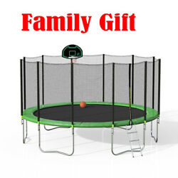 16 Ft Round Trampoline With Safety Enclosure Basketball Hoop Ladder Spring Pad