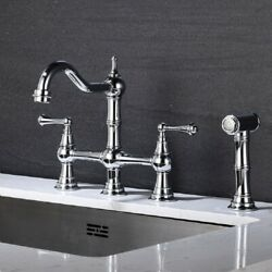 Bridge Dual Handles Kitchen Faucet With Pull-out Side Spray In