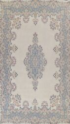 Antique Ivory Kirman Hand-knotted Area Rug Evenly Low Pile Oriental Carpet 10x16