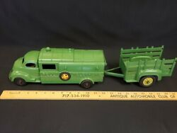 1950and039s Hubley Kiddie Toy Bell Telephone Truck And Trailer 504