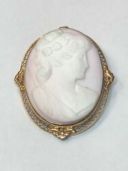Genuine 14 Kt Yellow Gold Cameo Pendant/brooch Pin 12.9 Grams