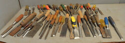 50 Vintage Woodworking Chisels Slick Carvers Collectible Restoration Parts Tools