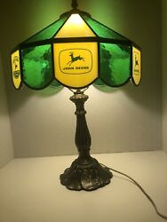 Vintage John Deere Stain Glass Table Lamp 1970andrsquos Mint Condition Rare