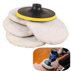 4x 7in Soft Woolen Buffing Pads + 1pcs 5/8in Buffer Wheel For Auto Car Polisher
