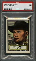1952 Topps Look N See 57 Jesse James Outlaw Psa Nm 7 - Bank Robber Gangster