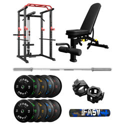 Power Cage Rack With Weight Bench 340 Lbs Barbell Weight Plates And 7ft Bar Set