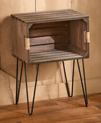 Rustic Wooden Crate End Side Table Country Farmhouse Decor