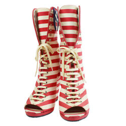 Striped Cc Open Toe Boots Shoes White Red Blue 38 2/1 Authentic 10096