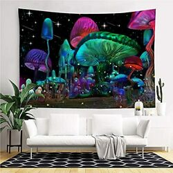 Psychedelic Mushroom Tapestry Trippy Wall Tapestry Fantasy Plant H29.5