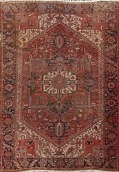 Antique Vegetable Dye Heriz Hand-knotted Large Area Rug Geometric Oriental 10x12