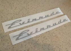 Evinrude Vintage Motor Decals Silver 2-pak Free Ship + Free Fish Decal