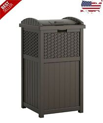 33 Gallon Hideaway Can Resin Outdoor Trash With Lid Use In Backyard,deck, Patio
