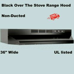 Black Over The Stove Range Hood 36 Exhaust Fan Non-ducted Under Cabinet Kitchen