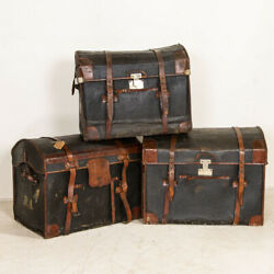 Authentic Vintage Set Of 3 Travel Trunks With Monograms From Sweden