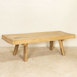 Vintage Thick Raw Slab Wood Coffee Table With Splay Legs
