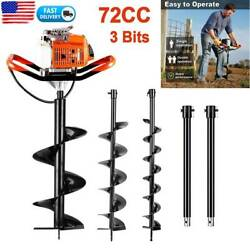72cc Earth Auger Power Head Gas Powered Post Hole Digger Machine W/3 Drill Bits