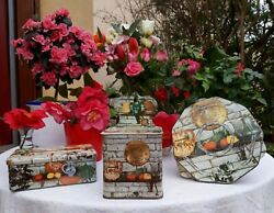 Lovely Vintage French Tin Canisters Set Salt Sugar Trivet Rustic Country 1950s
