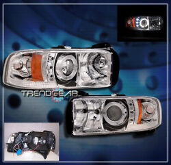 For 94-01 Ram Halo Led Projector Headlight Lamp Clear 95 96 97 98 99 00 Pickup