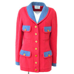 Single Breasted Cc Logos Button Long Sleeve Jacket Pink Denim 02135