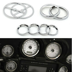 8pcs Chrome Speedometer Gauges Bezels And Horn Cover Fit For Touring T08