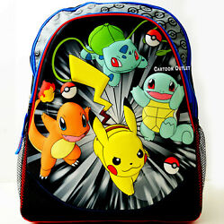 Pokemon Large 16quot; Backpack School Travel Pikachu Book Bag Charmander Squirtle $19.99