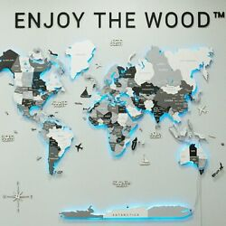 Wooden World Large Map Led Decoration Home Wall Lighted Decor Travel Gift New