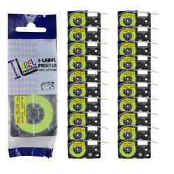 20pk Compatible For Casio Kl120 Xr-9fyw Black On Fluorescent Yellow Label Tape