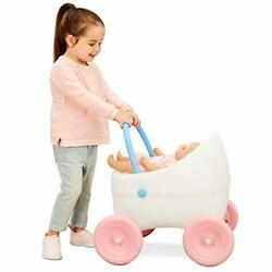 Doll Buggy Baby Carriage Stroller Wheels Pink Stable Kids Children Girls Toy Gif