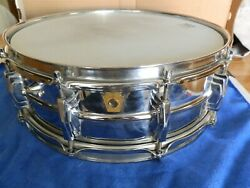 Ludwig 60's Pre Serial 10 Lug Supraphonic Cheome Over Brass Snare Drum Red Muff
