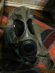 Us Army Gas Mask Vintage Military Black Chemical Biological Size Used
