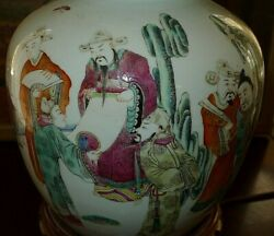 Chinese Antique Old Ginger Jar Vase Lamp Rare Figures Top Rare Must See