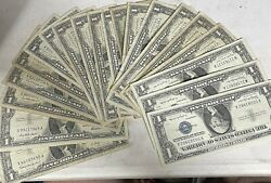 1957 Silver Certificate 1 Blue Seal Dollar Bill Lot.. 20 Circulated No Tears