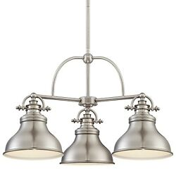 Quoizel Er5103 Nickel Emery 3-light 24w Chandelier With Metal Warehouse Shades