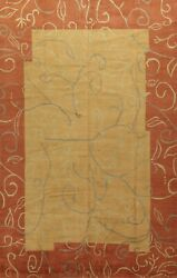 Vegetable Dye Gold Geometric Nepalese Oriental Large Area Rug Hand-knotted 10x14