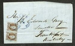 Usa Scott 1 Stamp Pair Folded Cover Mobile Alabama To Frankfort Kentucky 1850
