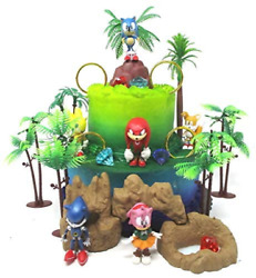 Sonic And Friends Deluxe Birthday Cake Topper Set Featuring Sonic Character And