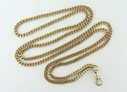 Antique 14k Yellow Gold 3.5mm/30 Beveled Curb Link And Dog Clip Chain Necklace