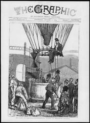 1874 - Antique Print London Woolwich Arsenal Military Ballooning Ascent 271