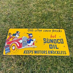 """Vintage Sunoco Oil 24x12"""" Mickey Pluto Porcelain Metal Gas And Oil Pump Ad Sign"""