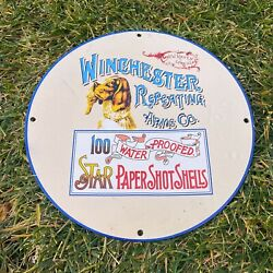 Vintage Winchester Repeating Arms Porcelain Metal Gas And Oil 12 Gun Ammo Sign