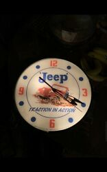 Vintage 1958 Telechron Pam Clock Jeep Traction In Action Lighted Sign