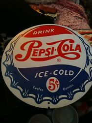 Vtg Pepsi Cola Sign 5 Cents Metal Gas Oil Service Station Tin Thermometer Clock