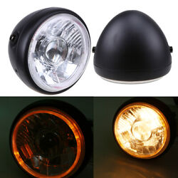 6.5 Motorcycle Headlight Halogen Bulb High/low Beam With Angel Eye Ring